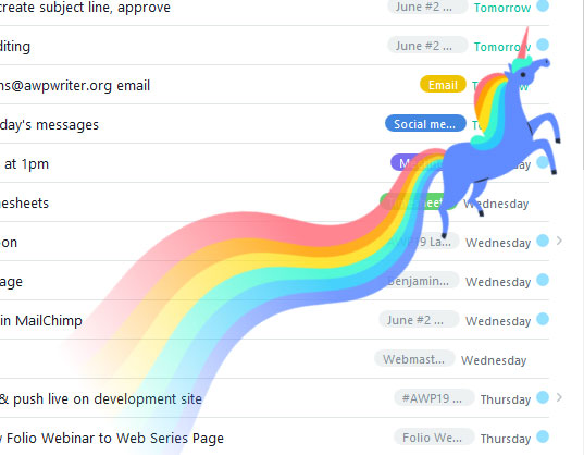 Unicorn flies across the screen with a rainbow tail.